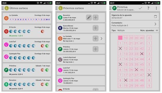 aplicación de lotería
